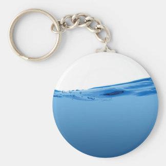 Onda de agua azul llavero redondo tipo pin