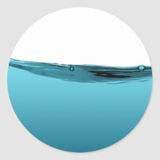 Onda de agua azul pegatina redonda