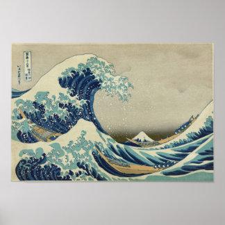 Onda de Kanagawa de Katsushika Hokusai Poster