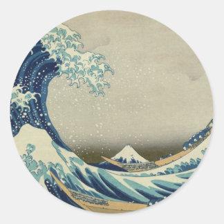 Onda de Kanagawa de Katsushika Hokusai Pegatina Redonda