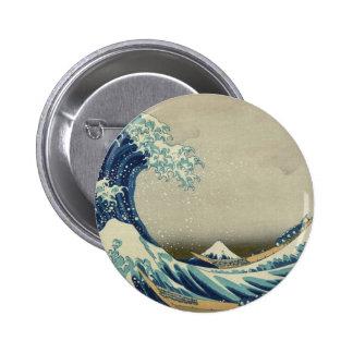 Onda de Kanagawa de Katsushika Hokusai Pin Redondo 5 Cm