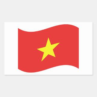Onda de la bandera de Vietnam Pegatina Rectangular