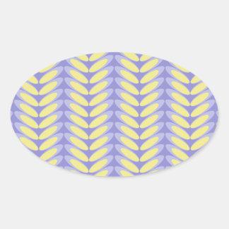 Onda de la hoja N (púrpura) Pegatina Ovalada
