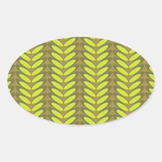 Onda de la hoja N (verde) Pegatina Ovalada