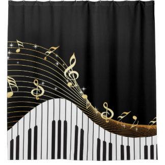 Onda de la música de las llaves del piano cortina de baño