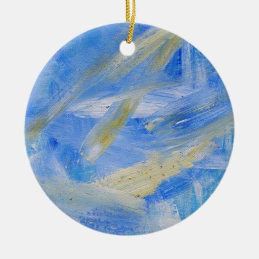 Onda de marea de la pintura 36 abstractos adorno navideño redondo de cerámica
