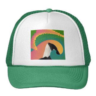 Onda del arco iris de la ballena de la orca gorros bordados