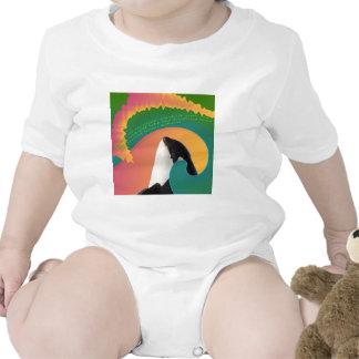 Onda del arco iris de la ballena de la orca traje de bebé