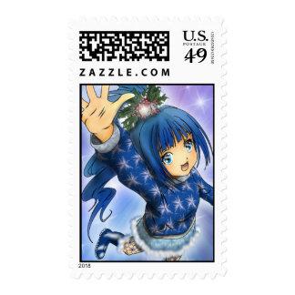 Onda del día de fiesta del chica del animado sello postal