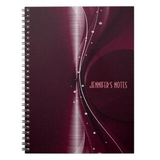 Onda dinámica retra metálica roja marrón cuaderno