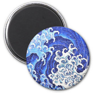 Onda femenina por Hokusai Imán Redondo 5 Cm