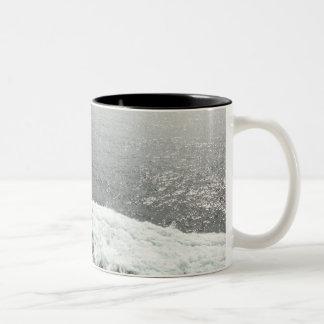 Onda grande taza de café de dos colores
