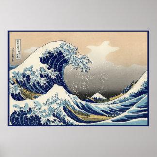 Onda japonesa del vintage gran náutica del monte póster