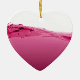Onda líquida rosada adorno navideño de cerámica en forma de corazón