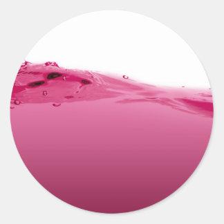Onda líquida rosada pegatina redonda