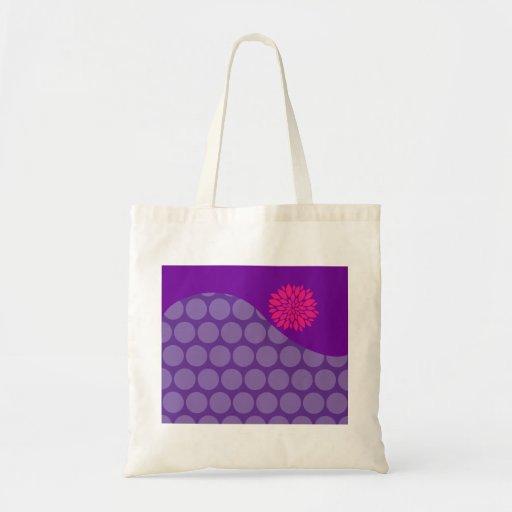 Onda púrpura bonita de los lunares con la flor ros bolsa tela barata