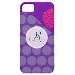 Onda púrpura bonita de los lunares con la flor ros iPhone 5 Case-Mate coberturas