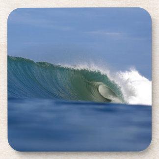 Onda que practica surf de la isla tropical verde posavaso