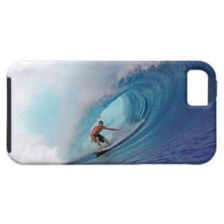 Onda que practica surf del filón tropical azul gra iPhone 5 carcasa