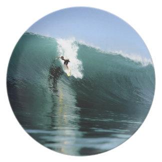 Onda que practica surf extrema verde grande que pr plato para fiesta