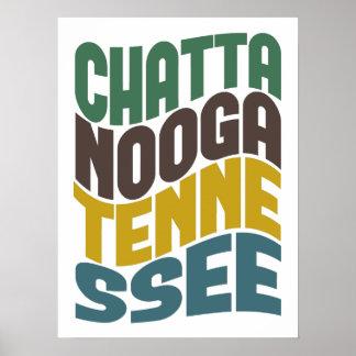 Onda retra de Chattanooga Tennessee Poster