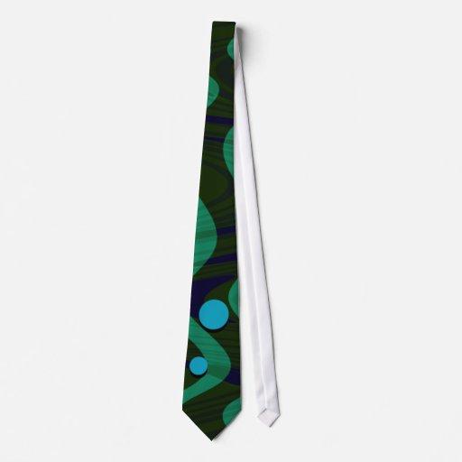 Onda retra veteada del punto del verde azul corbatas