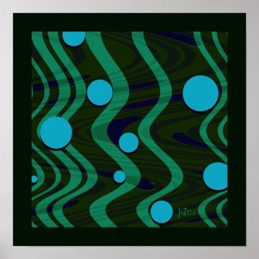 Onda retra veteada del punto del verde azul poster