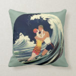Onda romántica de la playa del beso del amor del a almohadas