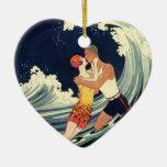 Onda romántica de la playa del beso del amor del a ornamentos de navidad