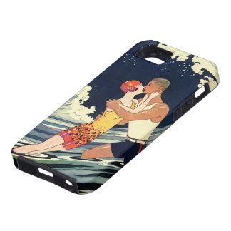 Onda romántica de la playa del beso del amor del a iPhone 5 cárcasas