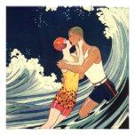 Onda romántica de la playa del beso del amor del a anuncios
