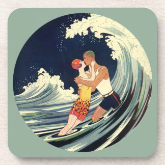 Onda romántica de la playa del beso del amor del a posavasos de bebida