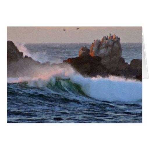 Onda Sur grande California de la playa de Asilomar Tarjeta De Felicitación