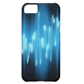 Ondas acústicas azules brillantes en negro