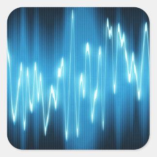 Ondas acústicas azules brillantes en negro pegatina cuadrada