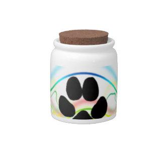 Ondas acústicas de la pata del perro negro jarra para caramelo
