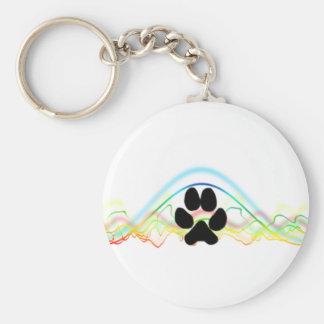 Ondas acústicas de la pata del perro negro llaveros personalizados