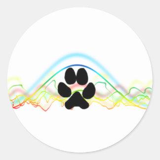 Ondas acústicas de la pata del perro negro pegatina redonda