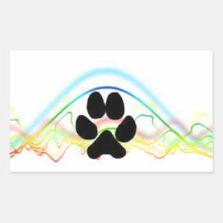 Ondas acústicas de la pata del perro negro pegatina rectangular