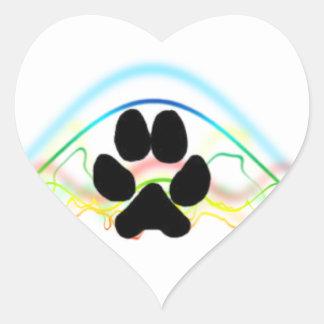 Ondas acústicas de la pata del perro negro pegatina en forma de corazón