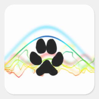 Ondas acústicas de la pata del perro negro pegatina cuadrada