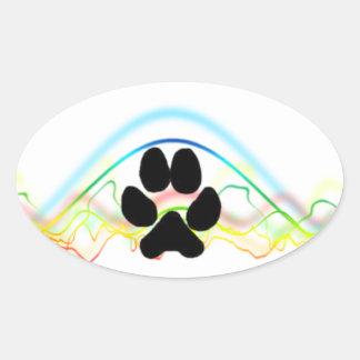 Ondas acústicas de la pata del perro negro pegatina ovalada