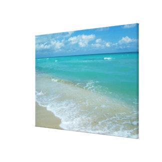 Ondas azules brillantes de la playa de la lona envuelta para galerias