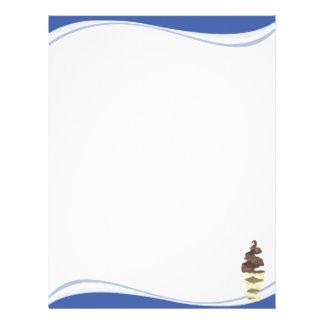 Ondas azules con una torsión del helado de chocola membrete a diseño