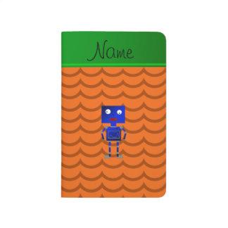 Ondas azules conocidas personalizadas del naranja cuadernos