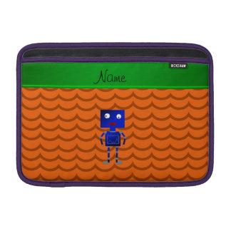 Ondas azules conocidas personalizadas del naranja funda  MacBook