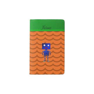 Ondas azules conocidas personalizadas del naranja funda para libreta y libreta pequeña moleskine