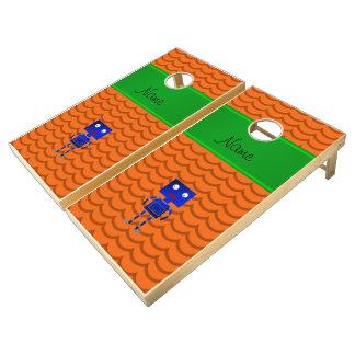 Ondas azules conocidas personalizadas del naranja juego de cornhole