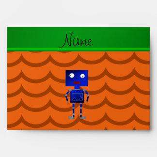 Ondas azules conocidas personalizadas del naranja sobres