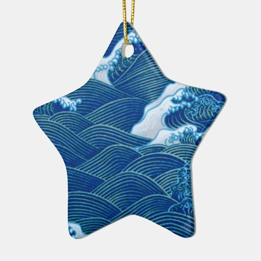 Ondas azules adorno de cerámica en forma de estrella